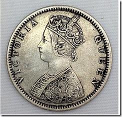 queen victoria elaborate head rupee