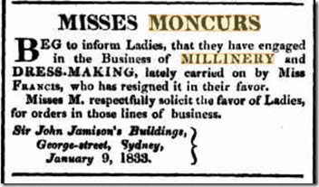 misses moncur millinery