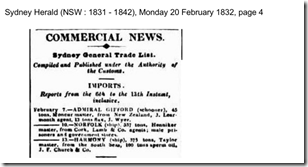 sydney herald admiral gifford 1832
